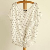 Lace-up Wavepoint Chiffon Batwing Top