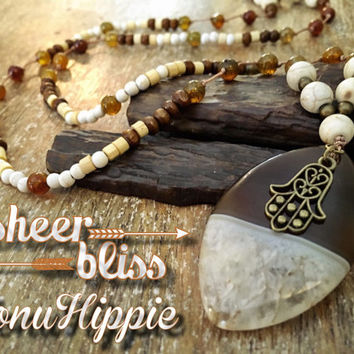 Mala hamsa hand necklace, boho hippie jewelry