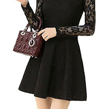 PlaidampPlain Womens Corrugated Neckline Floral Crochet Lace Skater Dress