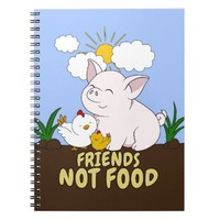 Friends Not Food - Cute Pig and Chicken Notebook