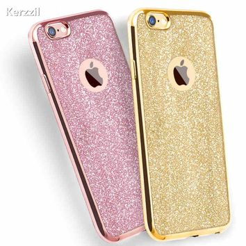 Kerzzil Luxury Clear TPU Phone Case For iPhone 7 & 6 Plus 6 6s Plus SE X 5s Silicone Soft Plating Back Cover With Bling Card