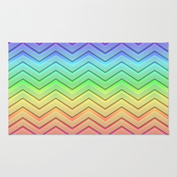 Rainbow Chevrons Area & Throw Rug by Lyle Hatch