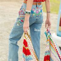 Heavy Work Embroidery Vintage Bohemia High Waist Boot Cut Pants Jeans [6295608388]