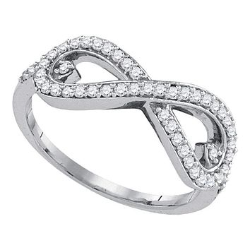 10kt White Gold Women's Round Diamond Infinity Fashion Ring 1/3 Cttw - FREE Shipping (US/CAN)