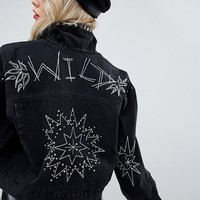 ASOS DESIGN denim jacket in washed black with studs and embroidery at asos.com