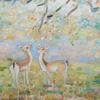 Deer Painting Original Animal Landscape Forest Wall hanging Art Home Child room decor Canvas Pastel Oil Paint Modern Artwork Russian Painter