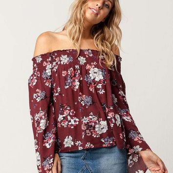 GYPSIES & MOONDUST Floral Womens Off The Shoulder Top