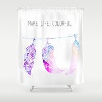 triple feathers Shower Curtain by deppo