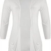 White Jersey Cardigan With Drop Pockets Plus size 16,18,20,22,24,26,28,30,32