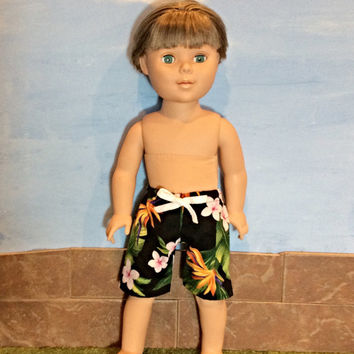 18 Inch Boy Doll Clothes, Swim Trunks, Boardshorts, Boy Doll Shorts, Hawaiian Print Shorts, Summer Doll Clothes