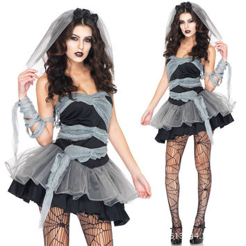 High Quality Halloween Women Vampire Cosplay Zombie Costume Halloween Party Wear Dark Angel Ghost Bride Costume