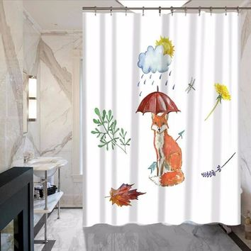 Painting Fox Polyester Waterproof Shower Curtain