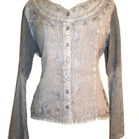 122 B Gypsy Medieval Embroidered Gothic Peasant Top Blouse