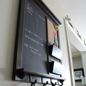 Framed Furniture Chalkboard and Bulletin Board with two pocket Mail Organizer Storage Shelf and Keyhooks