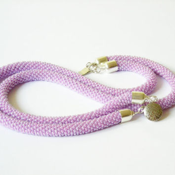 Lavender Pink Two wire Necklace Beaded Crochet by Luthopika