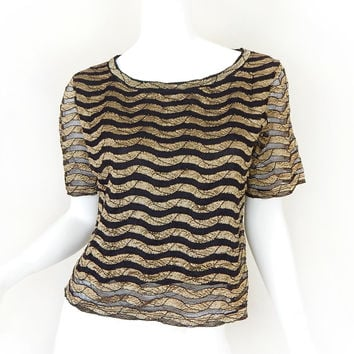 Vintage 90s Black and Gold Semi Sheer Top - Size Small Medium - Wavy Striped Neiman Marcus Mesh Womens T Shirt
