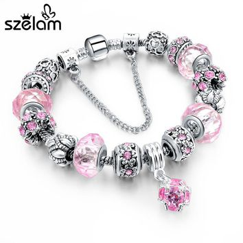 Szelam Hot Selling 2018 DIY Crystal Beads Bracelets & Bangles Snake Chain Charm Bracelets For Women Jewellery Pulsera SBR150271