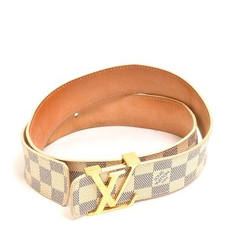 Authentic LOUIS VUITTON Damier Azur Canvas Saint Tulle LV Initial belt M9609