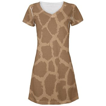 Halloween Giraffe Pattern Costume All Over Juniors Beach Cover-Up Dress