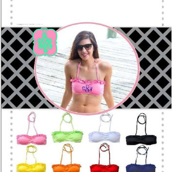 Monogram Ruffle Bandeau Swimsuit Top