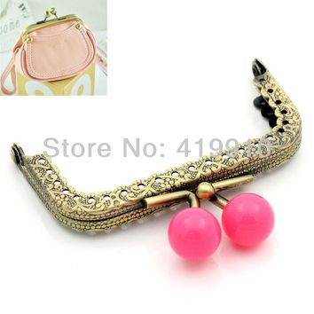 Free Shipping-2PC Metal Frame Kiss Clasp Lock Handle DIY Handmade For Purse Bag Parts Accessories Antique Bronze 7.8x6cm