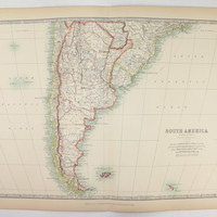 1905 Southern South America Map, Argentina Map, Chile Uruguay Map Paraguay, Falkland Islands, Vintage Map South America