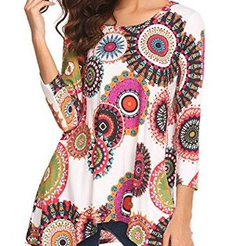 Women's Casual 3/4 Sleeve Paisley Print Tunic Tops Flare Handkerchief Hem Shirt Blouse