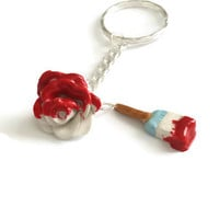 Alice in Wonderland Inspired Rose Keychain -Painting the Rose Red - Ailce,  Red Rose, Painting, Handmade, Polymer Clay Rose, Disney Keychain
