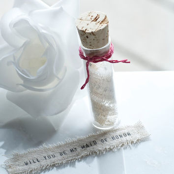 Will You Be My Maid of Honor, Message in a bottle, Wedding party invite