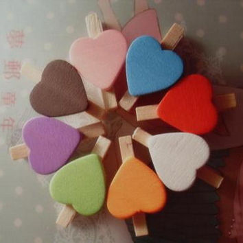 Wooden Pegs | Wood Stationery | Party Wedding | Gift Wrapping | Bag closure Scrapbooking Craft |Mini Assorted Heart Shape 3cm 50pcs