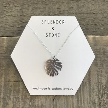 Silver Monstera Leaf Necklace