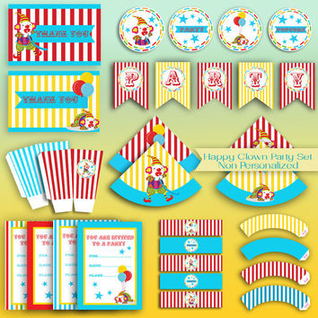 HAPPY CLOWN Party Decorations - PDF Files -Printable Set - Non Customized - High Quality 300 dpi