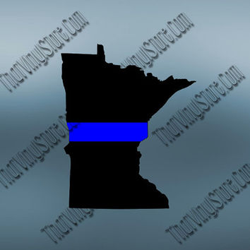 Minnesota Back the Blue Flag Thin Blue Line Vinyl Decal | Yeti Cop Decal | Distressed American Flag | Blue Lives Matter | 425