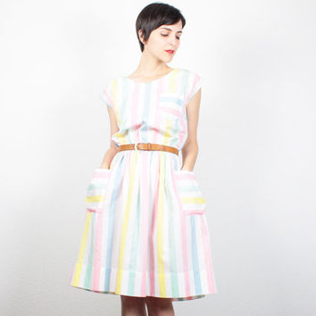 Vintage 80s Dress Day Dress Mini Dress Pastel Striped Sundress 1980s Dress Preppy Shirt Dress Pretty Lolita Kawaii Dress S M Medium L Large