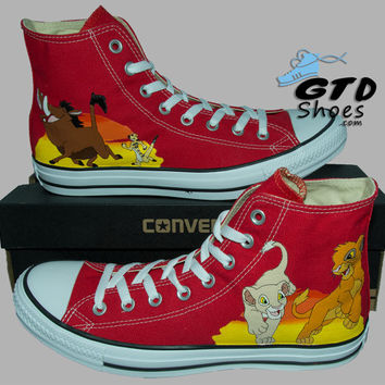 Hand Painted Converse Hi. The Lion King, Simba, Nala, Timon, Pumbaa. Handpainted shoes. V3