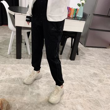 """""""Adidas"""" Unisex Casual Letter All-match Stripe Pocket Sweatpants Couple Thickened Leisure Pants Trousers"""