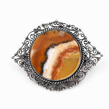 ON SALE Antique Victorian 800 Silver Filigree Agate Brooch, Round, Flat Cut, Crystalline, Natural Stone, Rope Edge, Amazing Stone! #c207