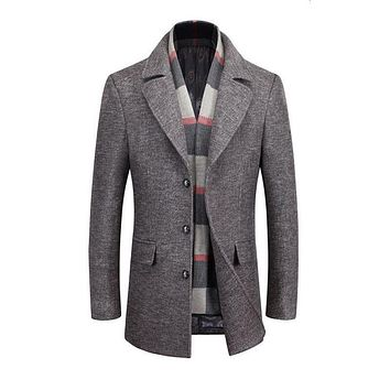 Winter Men Slim Fit Wool & Blends Autumn Solid Brand Clothing Jacket Wool Coat Casual Overcoat Long Warm Plaid 2 Colors 6XL
