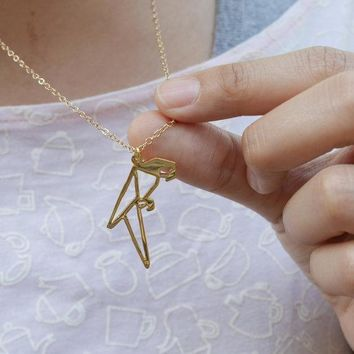 New Trendy Gold Silver Personalized Parrot Origami Necklace Animal Pendant Hunger Games Necklace Women Best Friend