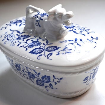 Blue and White Transferware Figural Resting Cow Topped Lidded Butter Dish Tub Box or Tea Caddy
