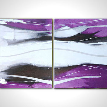 Purple oil painting - Multi canvas art - Abstract oil painting - Modern abstract art - White black - Wall decor - wall art - Contemporary