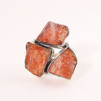 Sunstone Rough Three Stone Sterling Silver Ring
