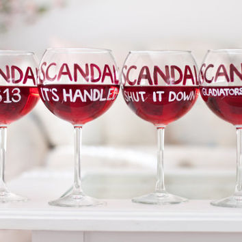 SCANDAL Wine Glasses: Set of 4 Olivia Pope Glasses