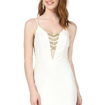 Teeze Me | Spaghetti Strap Sequin Cutout Dress | White/Gold