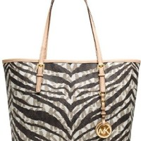 Michael Kors Small Travel Tote Mk Signature Tiger PVC in Vanilla
