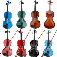 4/4 Full Size Acoustic Violin Set Fiddle with Case Bow Rosin Brown Blue Red = 1946357636