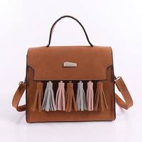 Vintage Brown Leather Tassel Leather Shoulder Bag Casual Crossbody Bag