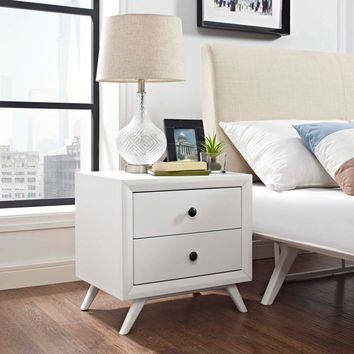 Modway Tracy 2 Drawer Nightstand - White | Hayneedle