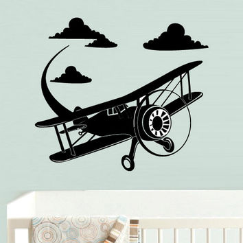 rvz547 Wall Decal Vinyl Sticker Airplane Plane Aircraft Funny Nursery Kids Baby