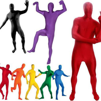 New 2016 Full Body Black Lycra Spandex Cosplay Clothes Skin Suit Catsuit Halloween Zentai Costumes Plus size S-XXL